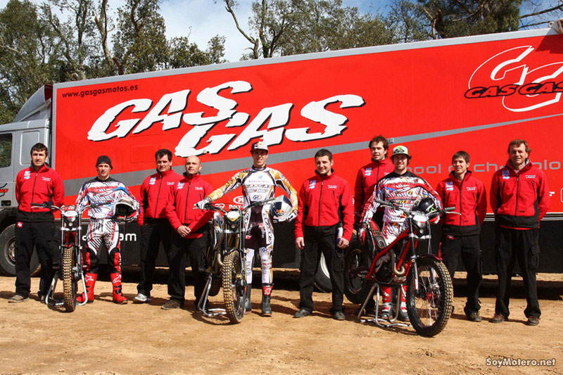 Equipo trial Gas Gas 2010 - Adam Raga, James Dabill y Loris Gubian
