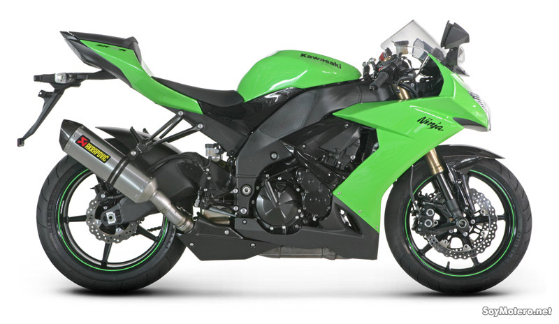 Akrapovic Slip-On Open para Kawasaki ZX-10R 2008 - vista lateral