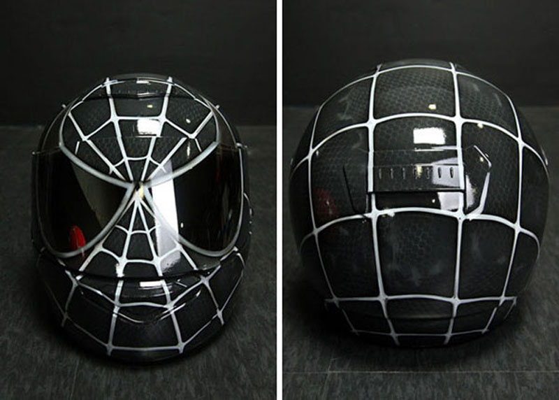 casco hjc spiderman negro pintado por dony custom. Black Bedroom Furniture Sets. Home Design Ideas