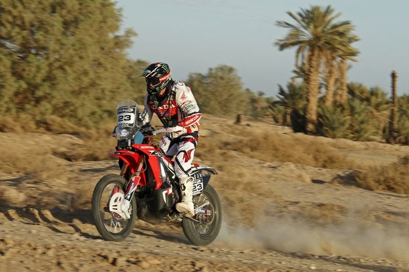 Joan Barreda con la Honda CRF 450 Rally en Marruecos