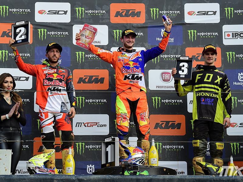 Podio MX2GP del GP de Portugal