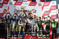 Bol D'or 2009 - podio: Suzuki Endurance Racing Team (Philippe, Foray, Four), Michelin Power (Costes, Monge, Lagrive)  y GSR Kawasaki (Foray, Noyes y Fores)