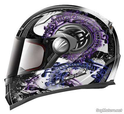 Casco integral moto LS2 FF358 decoración Celtic morado