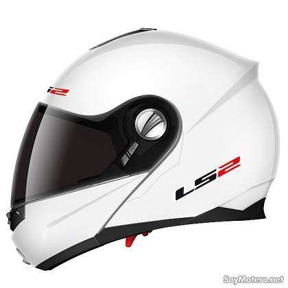 Casco de moto modular LS2 FF386 Ride color blanco