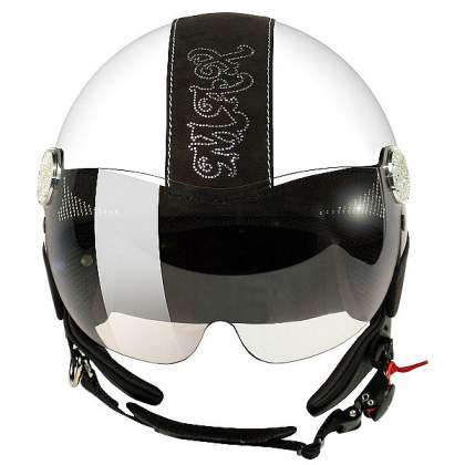 Casco Max Posh Swaroski blanco frontal