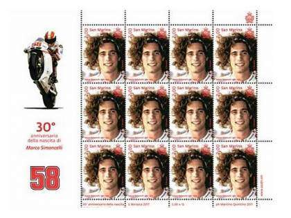 Sello en honor a Marco Simoncelli