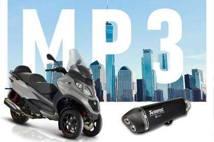 Promoción PIaggio MP3 con escape Akrapovic